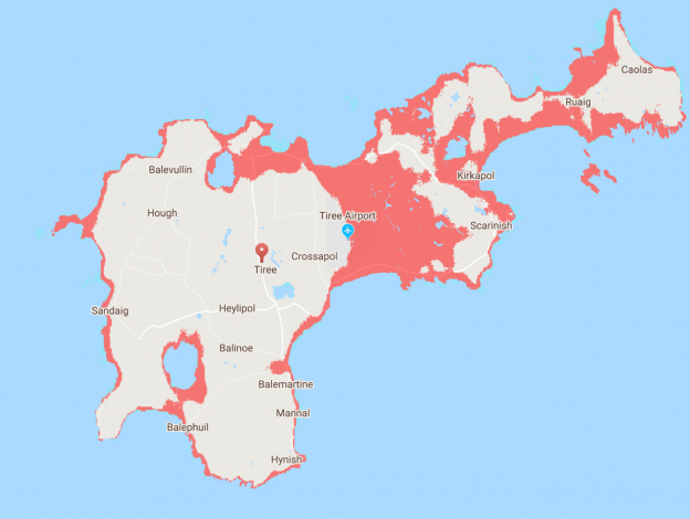 map of Tiree showing large areas of red coastal areas at risk